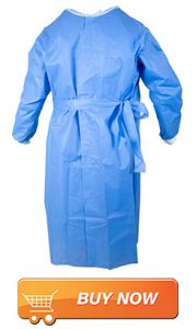 blue isolation aprons